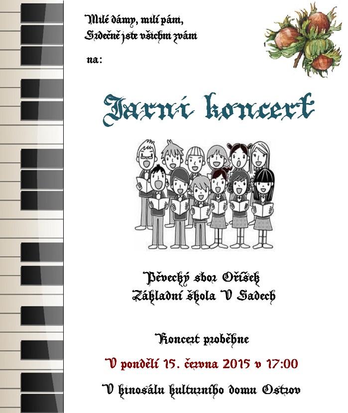 Jarní koncert pěveckého sboru Oříšek - pozvánka